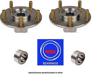 Front Wheel Hub & (OEM) NSK Bearing Kit For 2012-2013 HYUNDAI AZERA (PAIR)