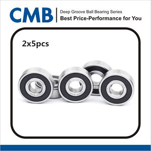 10PCS 6203-2RS Rubber Sealed Bearing Deep Groove Ball Bearing 17x40x12mm New