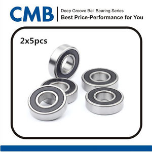 "10pcs R6-2RS Miniature Bearings Rubber Sealed Ball Bearing 3/8"" x 7/8"" x 9/32"""