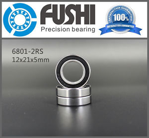6801 2RS Bearings 12x21x5 Slim/Thin Bearing 61801 2RS Shielded Deep Groove Ball