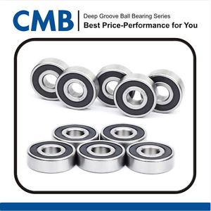 10PCS 6201-2RS Rubber Sealed Ball Bearing Bearings 12x32x10mm Brand New