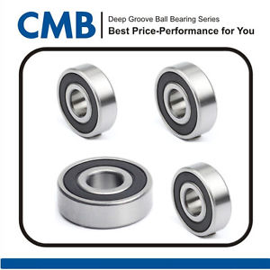 4pcs 6301-2RS Rubber Sealed Ball Bearing 6301-2rs 12 x 37 x 12mm