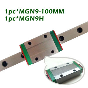Miniature MGN9 9mm Linear Slide :1pcs 9mm L-100mm Rail+1pcs MGN9H Block Carriage