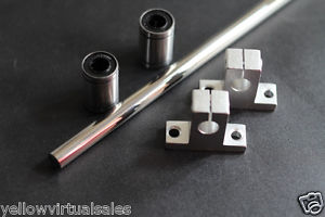 "10mm 15-1/2"" Hardened Shaft with Bearings LM10UU & Supports Rod Linear Rail CNC"