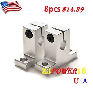 8pcs 10mm SK10 Bearing CNC Aluminum Linear Rail Shaft Guide Support US Seller