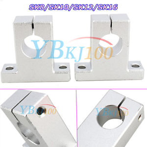New 2Pcs SK8/10/12/16 Linear Rail Bearings Shaft Guide Support Bracket CNC Motor