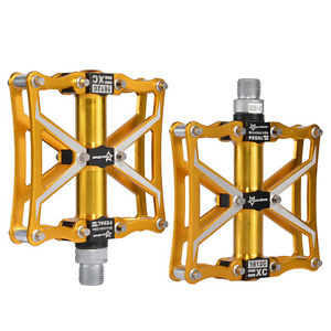 RockBros Bicycle Aluminum Alloy Platform Sealed Bearing CNC Spindle Pedals Gold