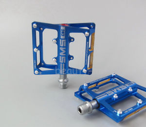 SMS-361 CNC Mountain Road sealed Bearing Pedals flat-Platform 9/16 in pedal Blue