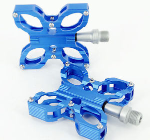 New BLUE CNC Road MTB Fixed Bike Bicycle Cycling Sealed Bearing Pedals 9/16""