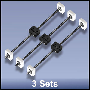 CNC STAINLESS STEEL M8 395 MM LEAD SCREW/DELRIN NUT/BEARING ASSEMBLY – 3 sets