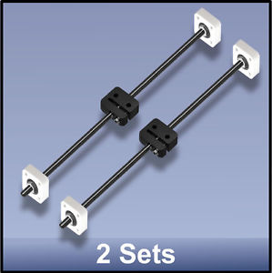 CNC STAINLESS STEEL M8 395 MM LEAD SCREW/DELRIN NUT/BEARING ASSEMBLY – 2 sets