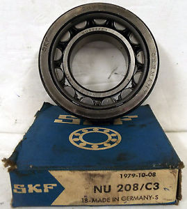 1 NEW SKF NU208/C3 CYLINDRICAL BEARING
