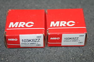 New (Lot of 2) MRC 103-KSZZ Deep Groove Bearings 103KSZZ (SKF 6003 2RSJEM)