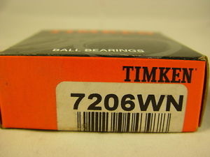 "Timken 7206WN Ball Bearing Angular Contact Single Row 1.18"" ID 2.44"" OD 0.62"" W"