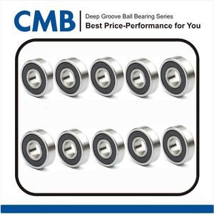 10pcs 6000-2rs Rubber Sealed Deep Groove Ball Bearing 10x26x8mm Brand New