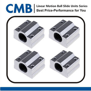 4pcs SC8UU SCS8UU Linear Motion Ball Bearing Slide Bushing Sliding Block 8mm ID