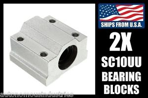 2-pack SC10UU Linear Bearings for 10mm Shafts, LM10UU with Pillow Blocks for CNC