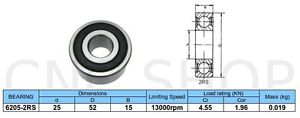6205 2RS BEARING 25mm X 52mm X 15mm DEEP GROOVE BALL BEARINGS CNC