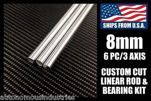 8mm Rod and Bearing Combo Kit for 3D Printer/CNC, Linear Shafts with LM8UU/SC8UU
