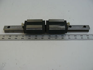 """LOT OF 2 THK HSR25 BEARINGS WITH 13 1/2"""" LINEAR RAIL"""