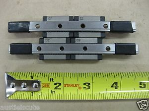"""Lot of 2 THK Linear Guide LM Rail 4 RSR 9KMA Carriages Bearing Blocks 4.5"""" 115mm"""