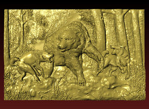wolf hunting for a bear STL 3d Model for CNC Router Relief Artcam Engraver Mill