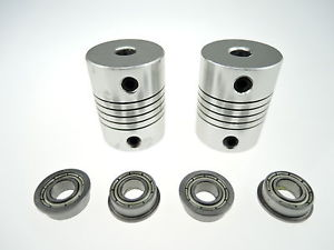 4x MF105ZZ Bearing + 2x CNC Motor Shaft Coupler Coupling for 3D Printer Prusa i3