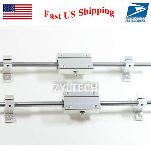 8mm 400 mm Hardened Shafts Rod Rail kit w/ Long bearing support 3D printer CNC