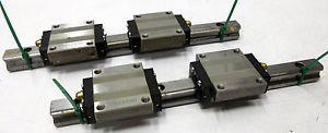 TWO THK HSRIS GE2533 GE2533KB LINEAR SLIDE BEARING STAGE BLOCK GUIDE RAIL 4 1/4""