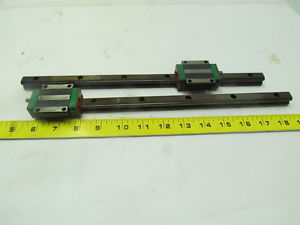 Hiwin HGW15CCH 62891-1 340MM linear guide rail w/flange type bearing lot of 2