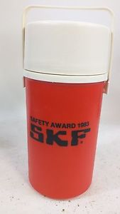 SKF BEARINGS Safety Award Lunch Pail Thermos Handle Hot Cool Family Corp 1983