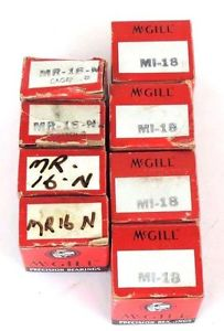 LOT OF 8 NIB MCGILL MI-18 AND MI-18-N NEEDLE BEARINGS