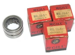 LOT OF 3 NIB MCGILL MR-16-S BEARING CAGED ROLLER 1X1-1/2X1IN, MR16S