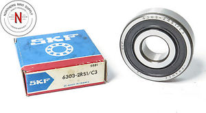 SKF 6303-2RS1 DEEP GROOVE BALL BEARING, DOUBLE SEAL 17mm x 47mm x 14mm, FIT: C3