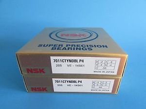 NSK7011CTYNDBL P4 ABEC-7 Super Precision Angular Contact Bearing. Matched Pair