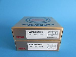 NSK7009CTYNDBL P4 ABEC-7 Super Precision Angular Contact Bearing. Matched Pair