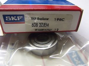 SKF 608 2ZJEM Bearing 8mm ID, 22mm OD 7mm W C3 Double Shield