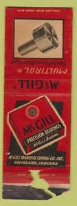 Matchbook Cover – McGill Bearings Valparaiso IN POOR
