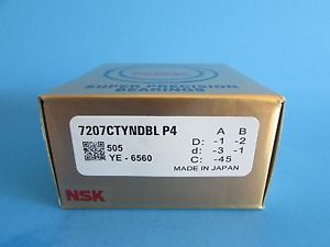 Set of Two NSK7207CTYNDBL P4 ABEC7 Super Precision Contact Spindle Bearings