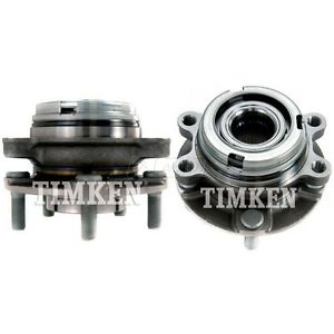 Front Wheel Hubs & Bearings Pair Set TIMKEN For Nissan Maxima Altima 3.5L w/ABS