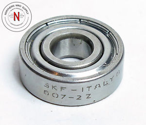 SKF 607-2Z DEEP GROOVE BALL BEARING, 7mm x 19mm x 6mm, FIT C0, DBL SEAL