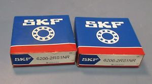 Lot 2 SKF 6206-2RS1NR Snap Ring Single Row Deep Groove 30mm ID Bearing NIB