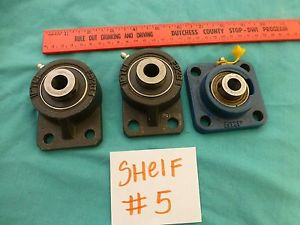 Lot of 3 Flange Bearing Shafts two UC201-86 PTC FB204 & One SKF Yat202-008