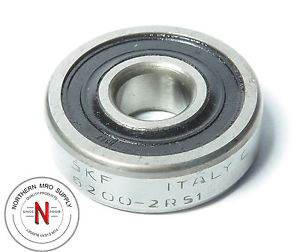 SKF 6200-2RS1/C3 DEEP GROOVE BALL BEARING, 10mm x 30mm x 9mm, FIT C3, DBL SEAL