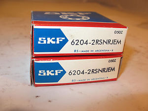 SKF series 6204-2RSNRJEM, NEW in Box, single row, External Snap Ring, PAIR