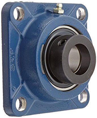 """SKF FY 1.1/4 WF Ball Bearing Flange Unit, 4 Bolts, Eccentric Collar, Regreasable, Contact Seal, Cast Iron, Inch, 1-1/4"""" Bore, 3-5/8"""" Bolt Hole Spacing Width"""