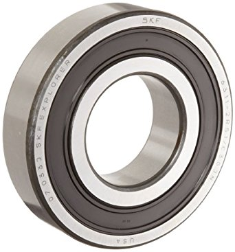 SKF Medium Series Deep Groove Ball Bearing, Deep Groove Design, ABEC 1 Precision, Double Sealed, Contact, Steel Cage, C3 Clearance