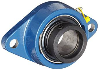 "SKF FYT 1/2 FM Ball Bearing Flange Unit, 2 Bolts, Eccentric Collar, Regreasable, Contact Seal, Cast Iron, Inch, 0.5"" Bore, 3"" Bolt Hole Spacing Width, 1650lbf Dynamic Load Capacity"