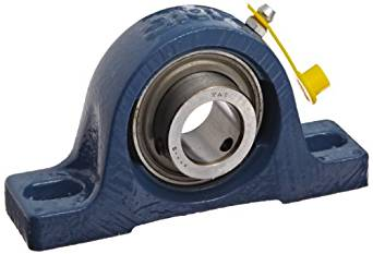 "SKF SY 1. RM Pillow Block Ball Bearing, 2 Bolts, Normal-Duty, Setscrew Locking Collar, Contact Seals, Cast Iron, Inch, 1"" Shaft, 1-7/16"" Base To Center Height, 4-1/64"" Bolt Hole Spacing Width, 3150 pounds Dynamic Load Capacity"