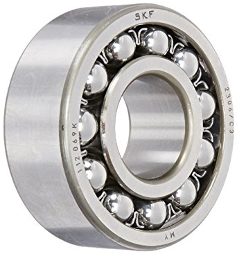 SKF Double Row Self-Aligning Ball Bearing,  Cylindrical Bore, Open, Pressed Steel Cage, C3 Clearance, Metric
